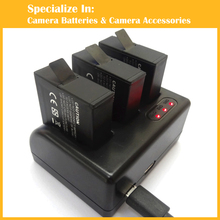 Battery AHDBT-501 GoPro hero 5 3pcs gopro hero5 battery + 1x With Three-channel usb charger for GoPro5 go professional hero5 digital camera