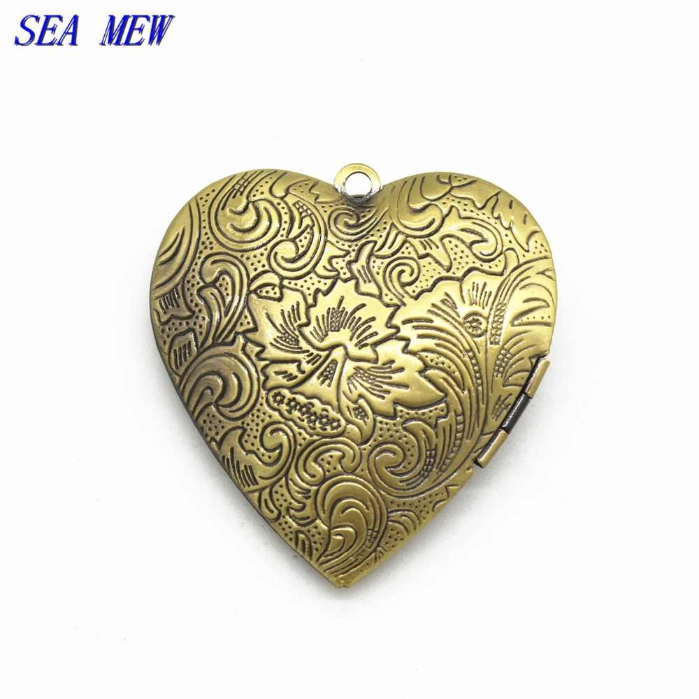 SEA MEW 1 ชิ้น 40*42 มม. 7 สีโลหะทองแดงหัวใจคู่แกะสลัก Locket จี้ Fit 29.5*32 มม. สำหรับเครื่องประดับทำ
