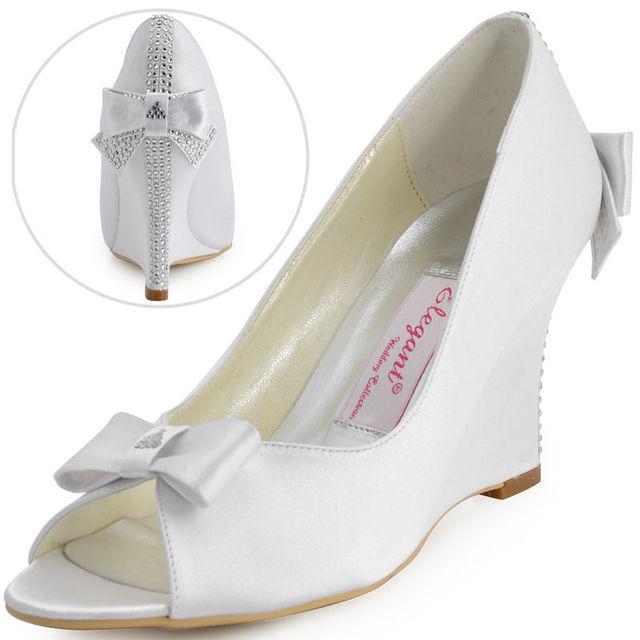 """Envío libre EP41020 Fiesta Noche de Las Mujeres Peep Toe de Raso Arco Rhinestone 3.5 """"Talón de Cuñas de Boda Nupcial Zapatos US4-11"""