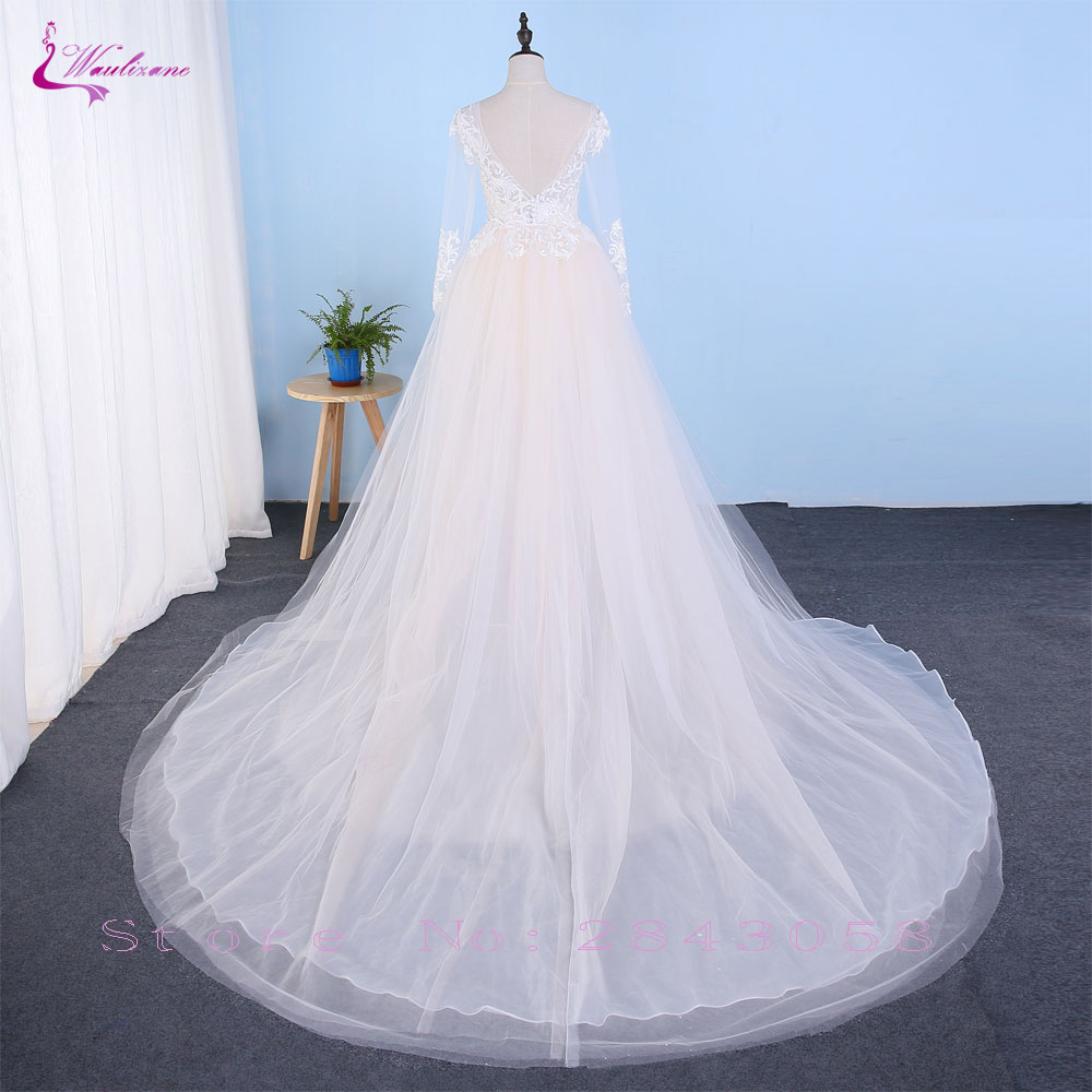 Chic Tulle Embroidery O-neck 2 In 1 Detachable Train Wedding Dress