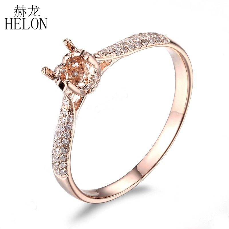 HELON Solid 14K Rose Gold Round Cut 4.5mm Semi Mount Diamonds Wedding Ring Engagement Fine Jewelry Ring Valentine's Day Gift wta finals singapore semi final day