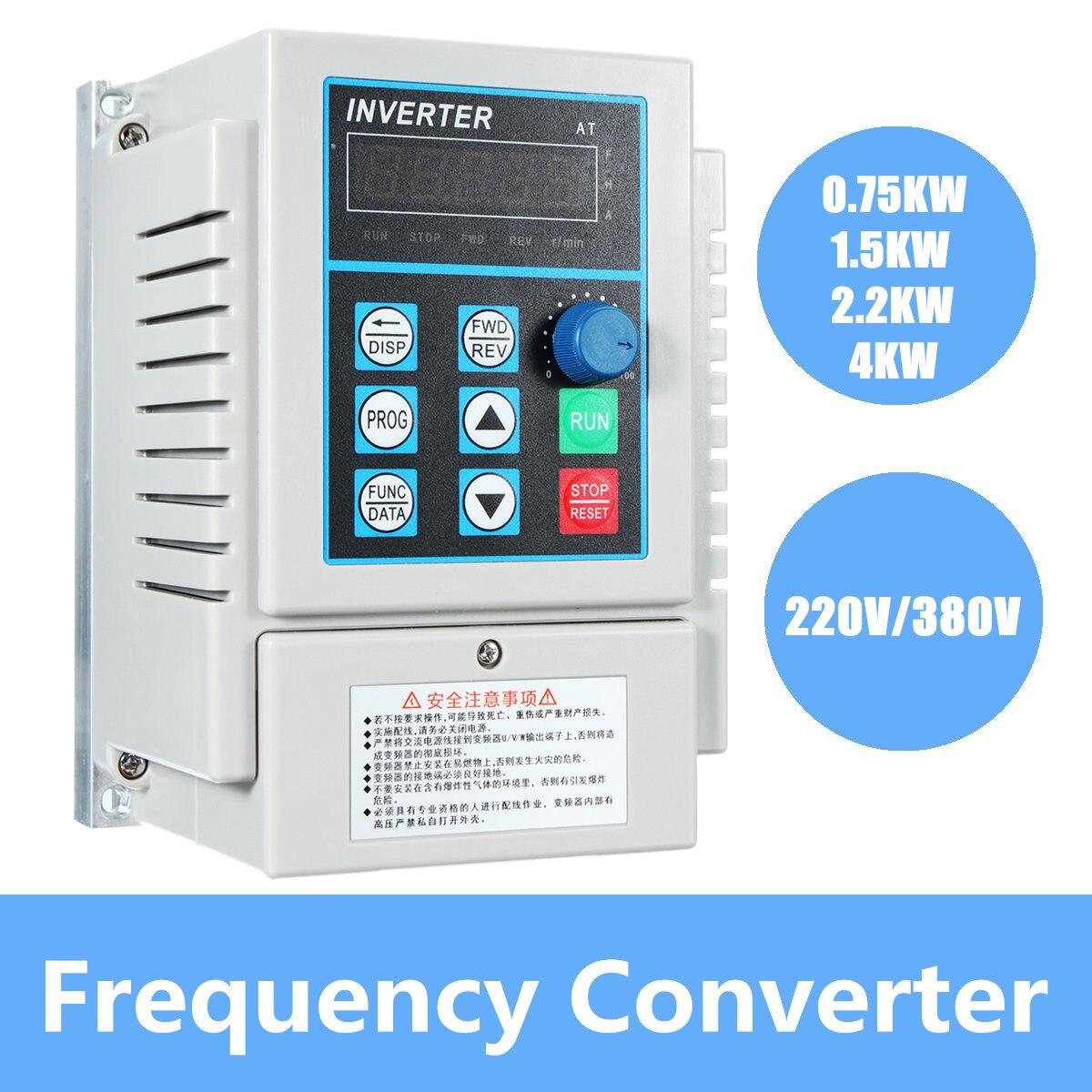 0.75/1.5/2.2/4kw monophasé entrée et convertisseur de fréquence de sortie 3 phases/variateur de vitesse réglable/convertisseur de fréquence/VFD