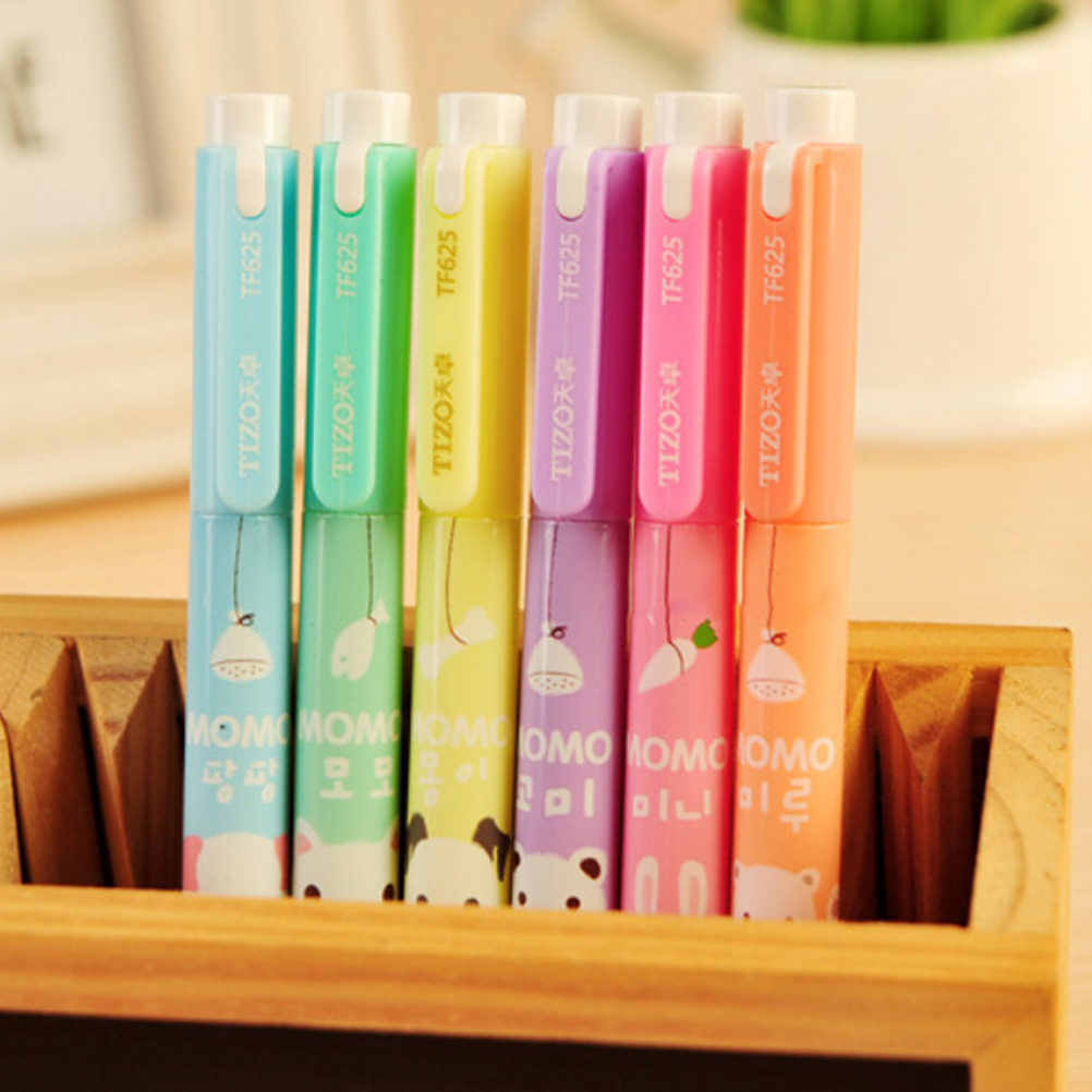 New Dual Side Writing Cute Cartoon Creative Focus Stud Highlighter Marker Pen Office School Supplies 6pcs Lot Whole In Highlighters From