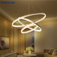 Omicron Creative Modern Chandeliers Circle Rings Lights White Black Aluminum DIY LED Lamp For living Room Indoor Lighting