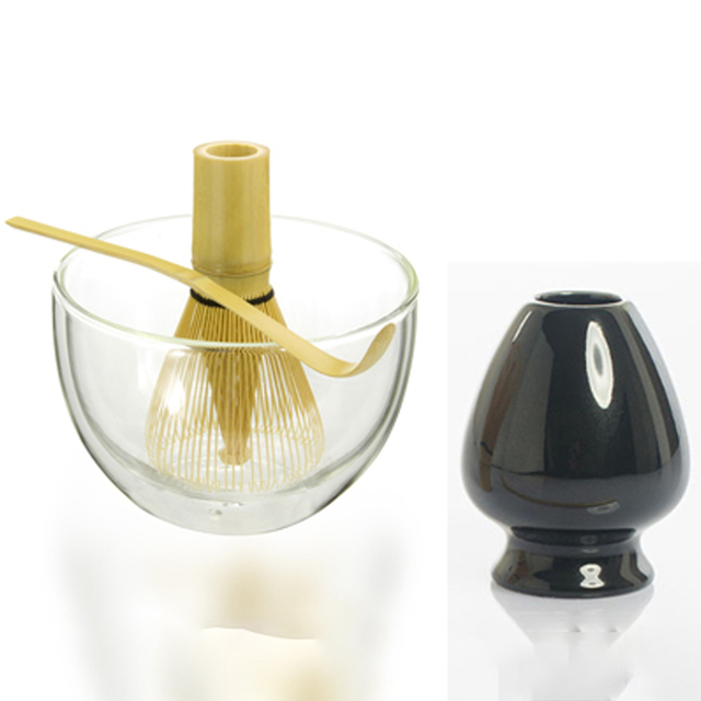 Most Popular Matcha Tea Kit Organic Bamboo Matcha 100 Prongs Chasen Scoop 540ml Double Walled Glass Matcha bowl and Whisk holder
