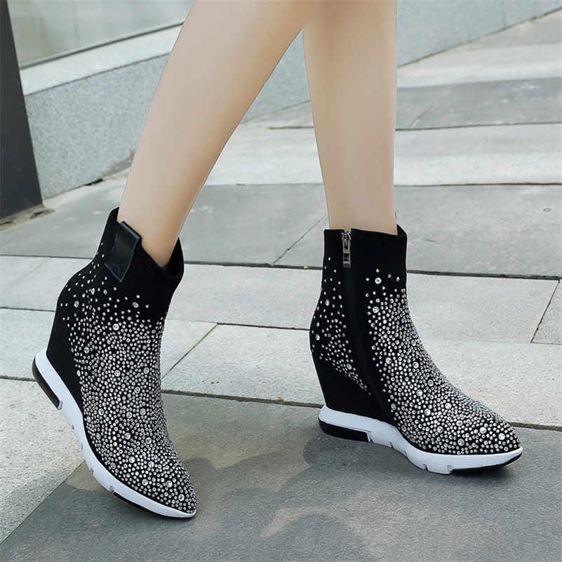 FEDONAS en kaliteli taklidi kadın yarım çizmeler takozlar yüksek topuklu sonbahar kış düğün parti ayakkabıları kadın fermuar dans ayakkabıları