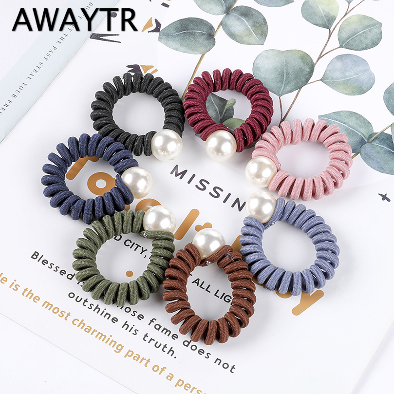AWAYTR 2pc/set Pearl Hair Rubber Elastic Hair Bands For Women Scrunchies Ponytail Holder Girls Hair Ties Ropes Hair Accessories