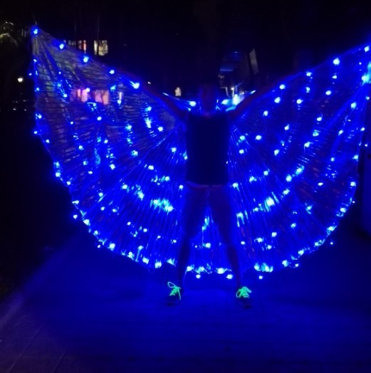 christmasstage dj angel light wings catwalk stage costumes light wings stage led colorful