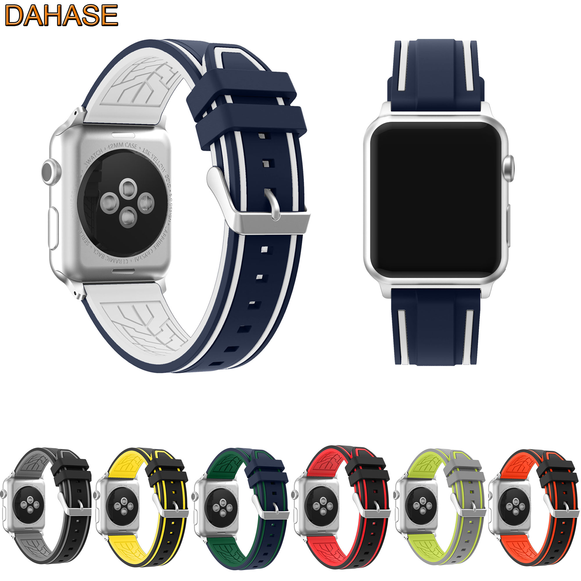 dahase dual colors sport silicone strap for apple watch band series 1 2 3 protect cover for apple watch case 42mm 38mm bracelet DAHASE Sport Silicone Watch Strap For Apple Watch Band 42mm 38mm Metal Buckle Bracelet Series 1 2 3 Replacement Wristband