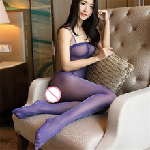Sexy Lingerie Stockings See-Through Open-Crotch Shinny Glossy Plus-Size Women Nylon
