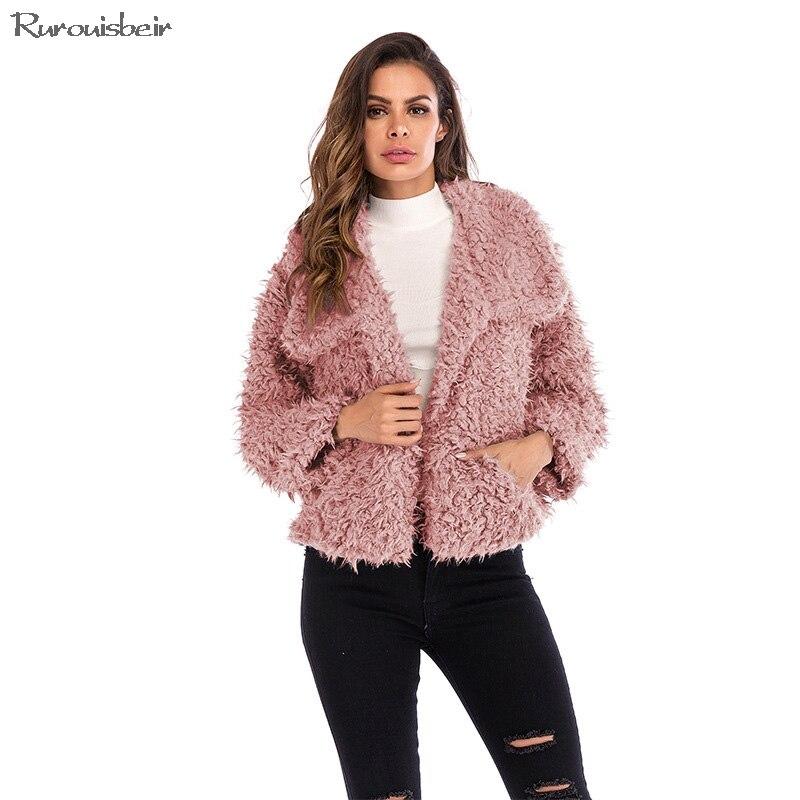 High Quality Warm Winter Coat Fall Decoration Pockets Women Clothes Fashion 2018 Autumn Streetwear Furry Fuzzy Coat Lapel Collar