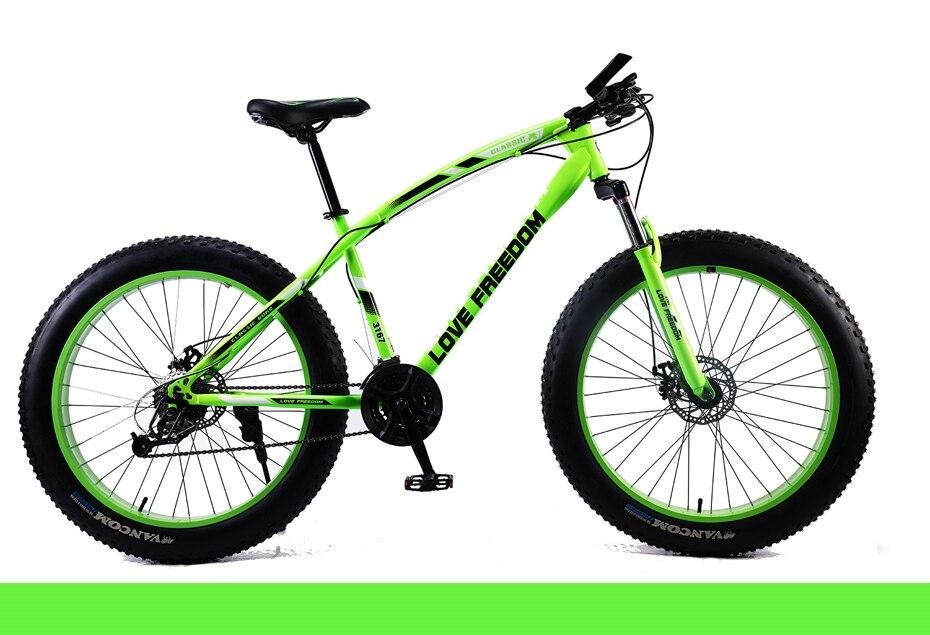 "HTB178rVeBCw3KVjSZFlq6AJkFXaA Love Freedom Mountain Bike 7 Speeds, 21Speeds .24 Speeds .27 Speeds Fat Bike 26x4.0""  Off-road gear reduction Beach Bike"