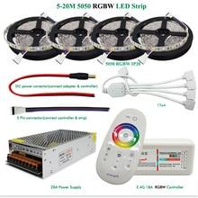 DC12V LED Strip Light RGBW ip65 Waterproof 5050 Flexible Tape + 2.4G RF Remote Controller + Power adapter Kit 20M 15M 10M 5M