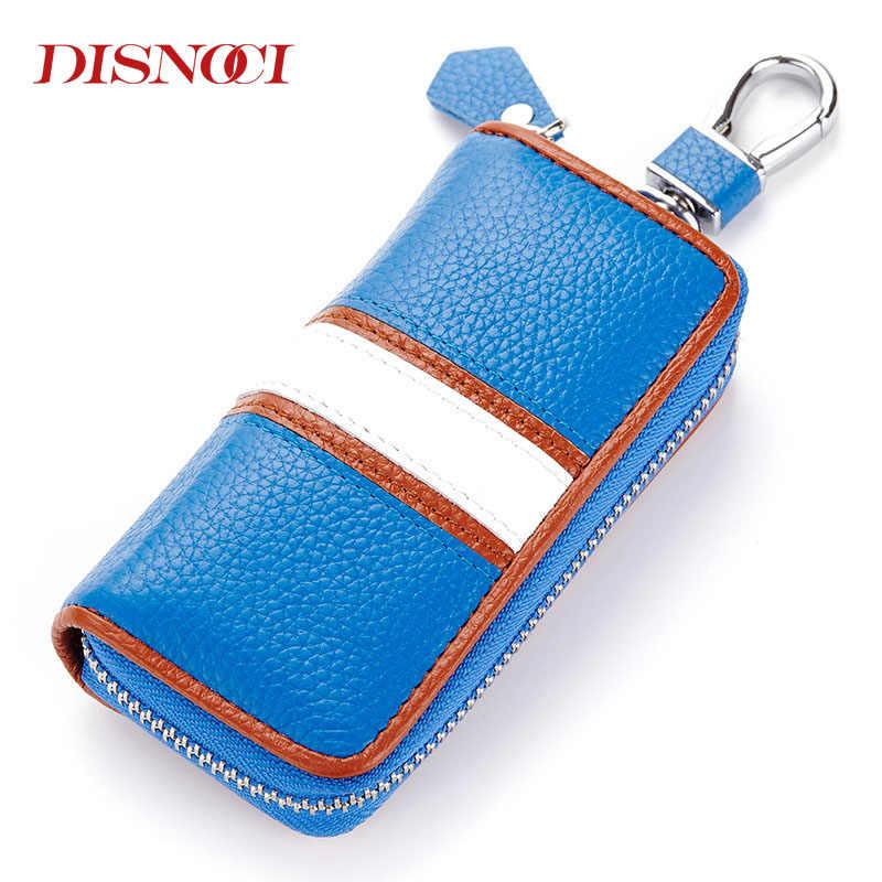 DISNOCI кошелек для ключей из коровьей кожи, чехлы для автомобильных ключей, мужские кожаные чехлы на молнии, держатель для карт, женская ключница, 6 ключей, чехол для колец, сумки для монет