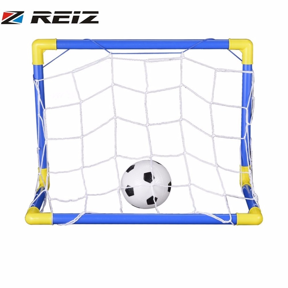 REIZ Folding Mini Football Soccer Goal Post Net Set with Pump Kids Sport Indoor Outdoor Games Toys Child Birthday Gift Plastic image