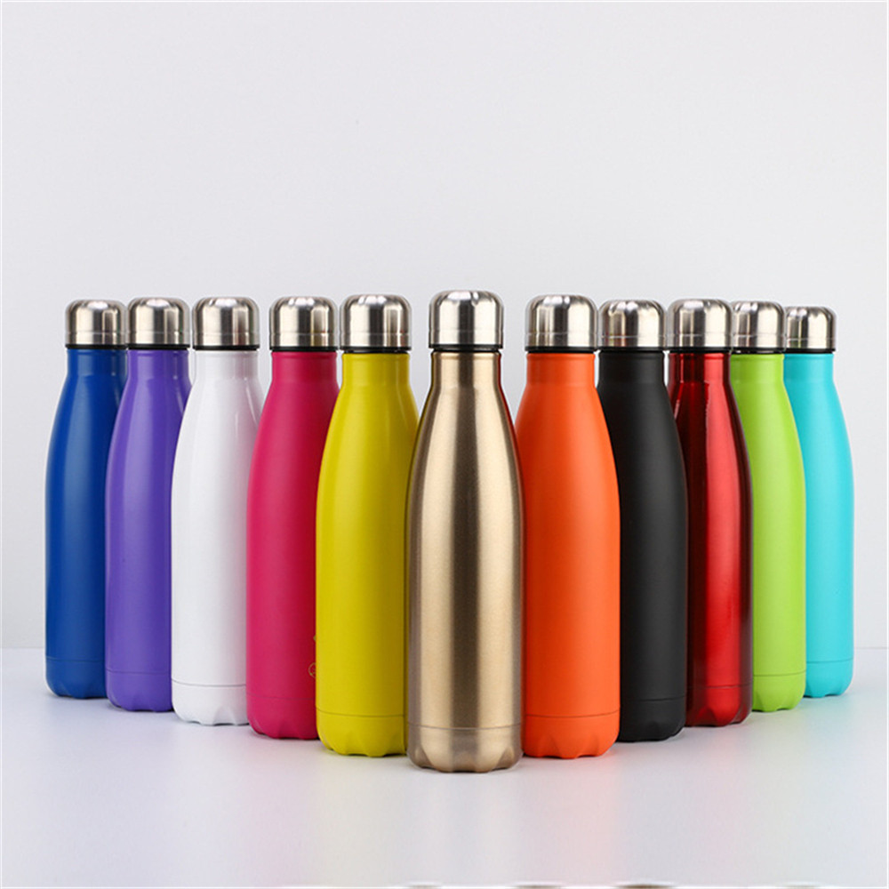 Colorful Water Bottle 500ml Solid Color Thermos Stainless Steel Vacuum Insulated Drink Portable Cup Gift