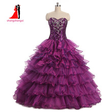 2017 Новый Милый Фиолетовый Quinceanera Платья Organza Sweet 16 платья Дебютант бальное платье Длинные платья выпускного вечера