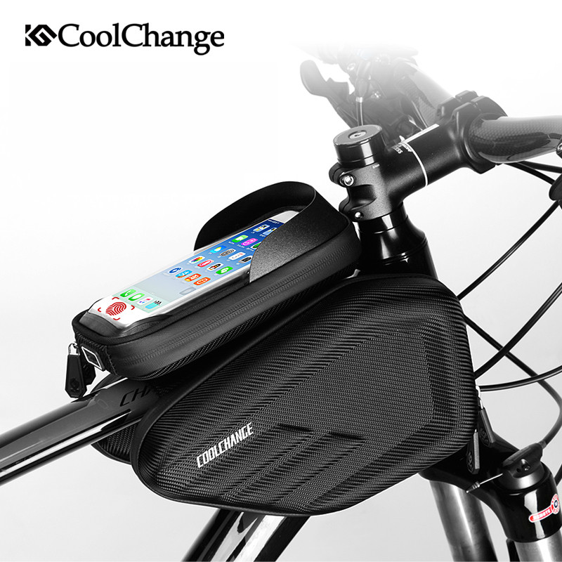 Coolchange Touch Screen Waterproof Cycling Bike Bag Bicycle Tube Bag Mountain Bike MTB Front Frame Mobile Phone Bag Accessories