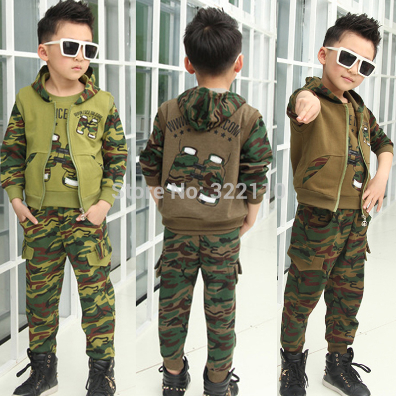 Baby Boys Autumn Clothing Sets Camouflage Sport suits Kids Suit Sets Boys Clothes Children Clothing 2017 new boys clothing set camouflage 3 9t boy sports suits kids clothes suit cotton boys tracksuit teenage costume long sleeve