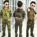 Meninos Camuflagem conjunto de Roupas para a roupa Do Bebê 3 peças terno Do Esporte Crianças Agasalho Jaqueta Camisa Calças Sportswear Outono
