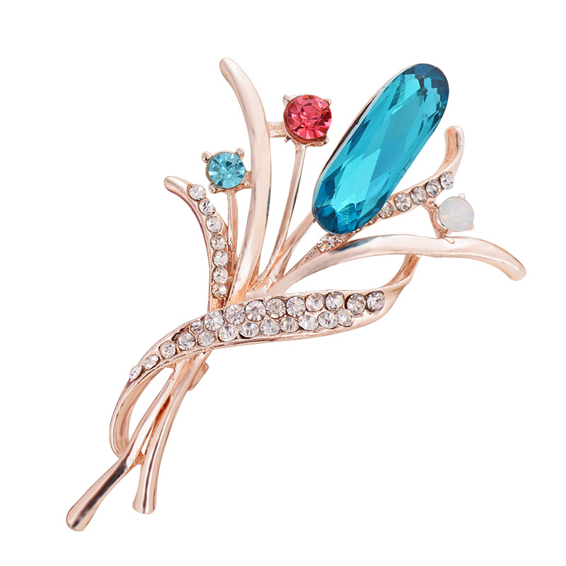 Fashion Golden Color Flower Brooches with Opal All Crystals Broches Women's Clothing Pin Accessories Pretty Wedding Jewelry