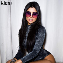 Kliou 2018 autumn winter women Shining sexy backless bodysuits turtleneck full sleeve female skinny black hollow out rompers(China)