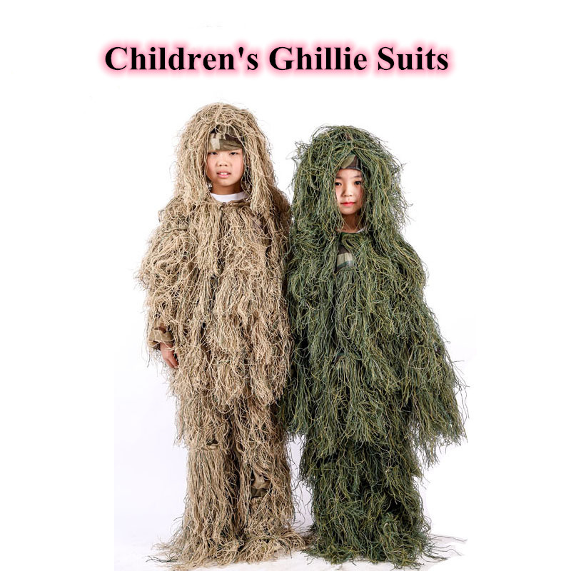 Children s Sniper Jungle Combat Ghillie Clothes Kids Outdoor Camping Hunting Training CS Shooting Stealth Tactical