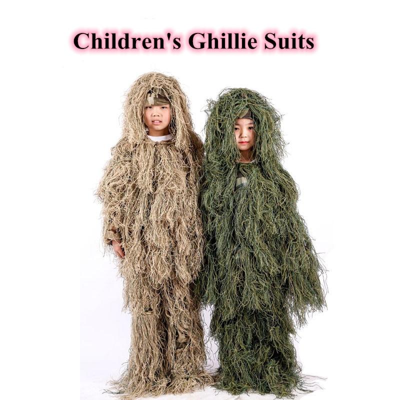 Enfants Sniper Jungle Combat Ghillie vêtements enfants en plein air Camping chasse formation CS tir furtif tactique Ghillie costumes