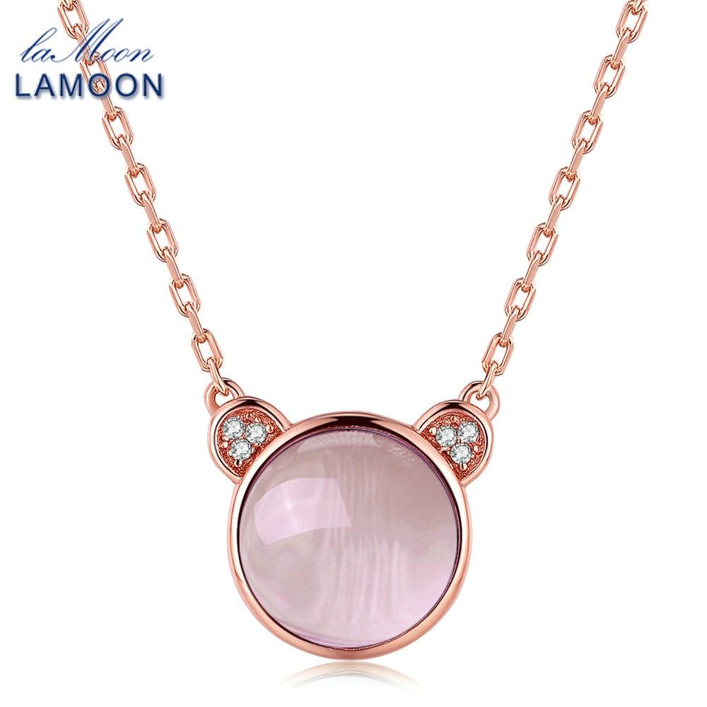 LAMOON Schöne Rosa Bär Halskette & Anhänger Für Frauen 4.8ct - Edlen Schmuck - Foto 1