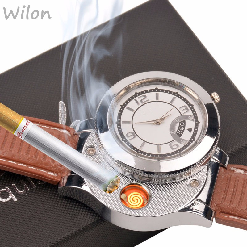 Newest Gifts Casual Watches Quartz Watch with USB Electronic Rechargeable Windproof Flameless Cigarette Lighter WL005WQ 29 Z lighter watch men s sports casual quartz watches with leather strap windproof flameless cigarette lighter usb charging f665