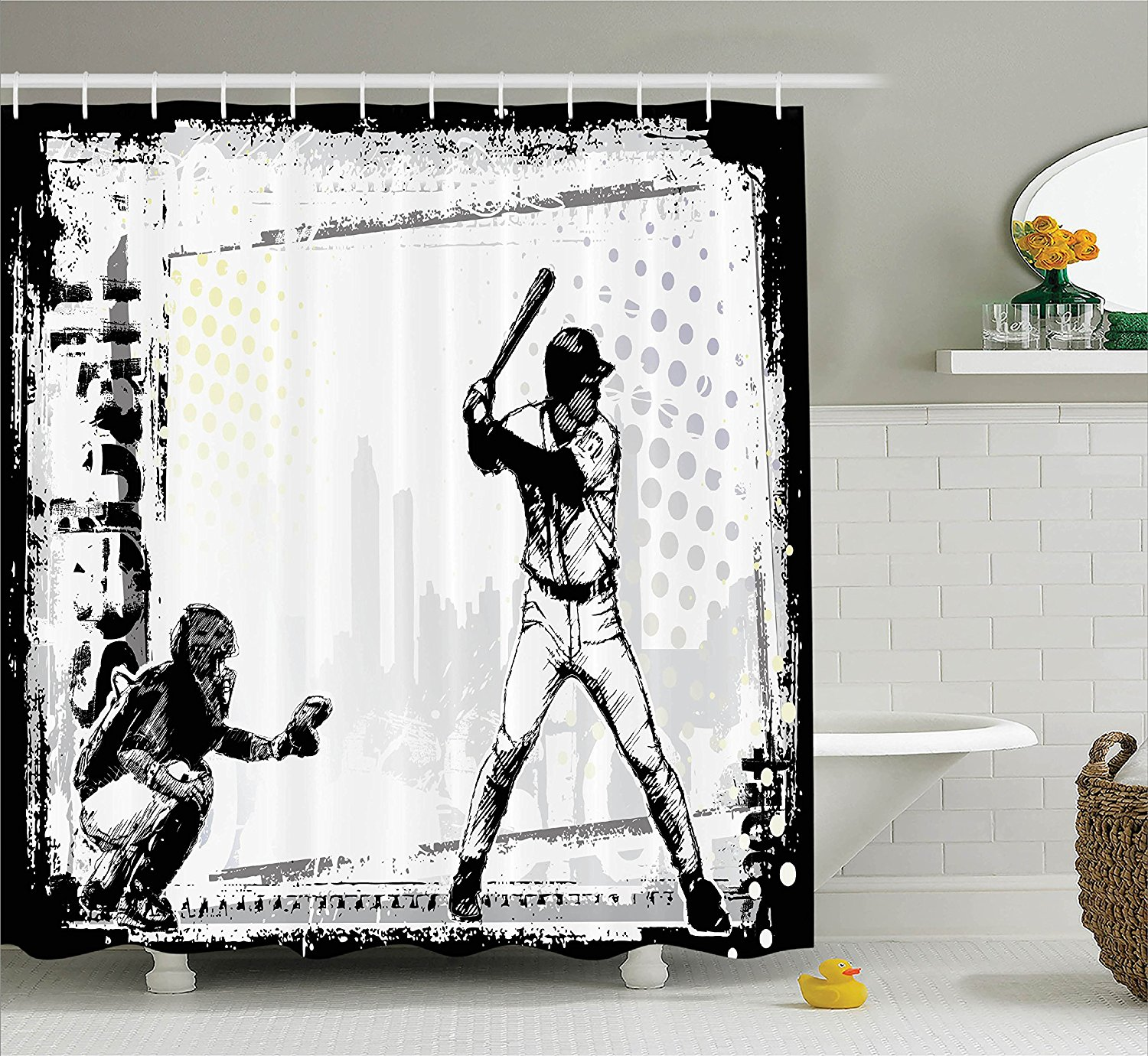 Sports shower curtain - Warm Tour Sports Baseball Themed American Sport Team Shower Curtain Polyester Curtain Hospital Hotel With