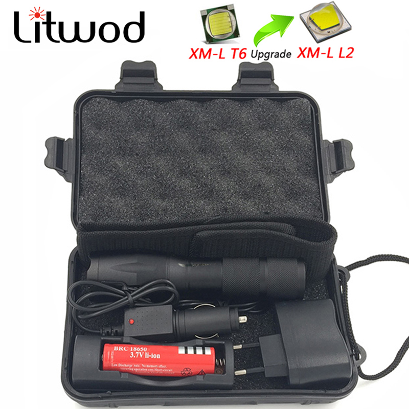 Litwod Z10 LED Flashlight Torch Portable Light Waterproof Defensive Lantern 5 Modes Zoomable Torch 3000LM XML-T6 / L2 For Riding