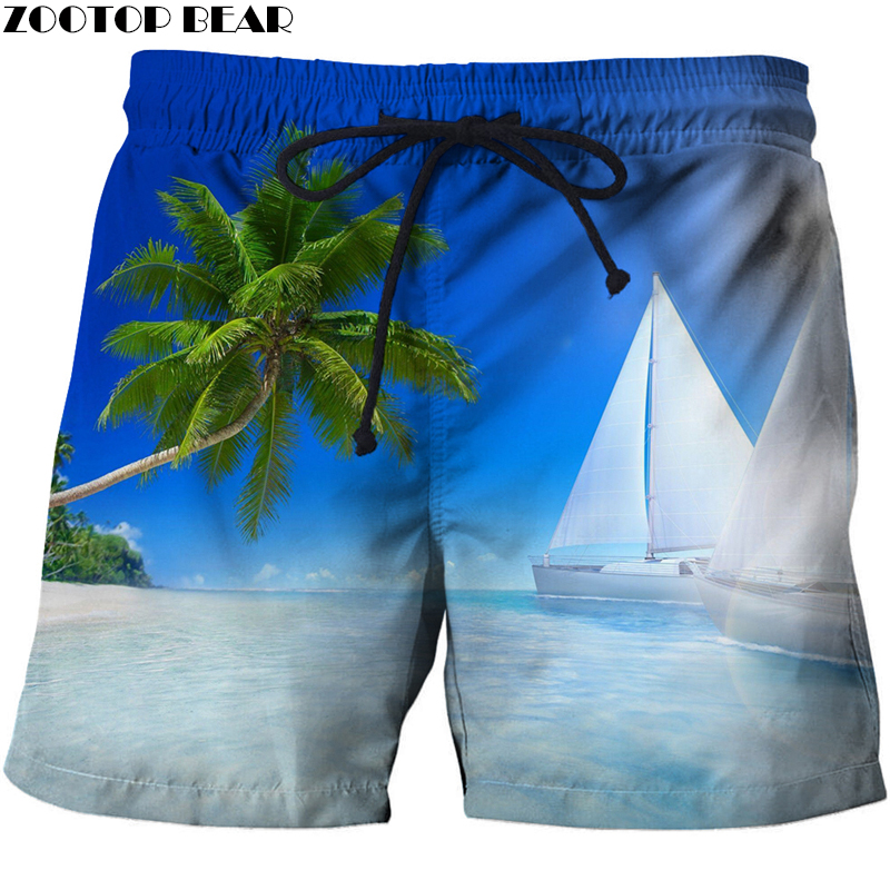 Surfing Men T-Short Quick Dry Elastic Waist Palm Tree Summer Swim Beach Male 3D Printer Clothing Shorts Bodybuilding Breathable