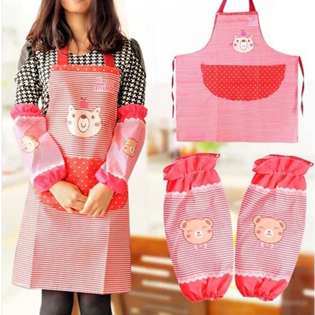 Set Kitchen Apron Cuffs With Cartoon Bear Polyester Waterproof Kitchen Tool For Women Cooking Shoulder