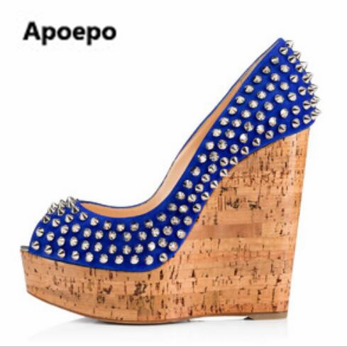 2017 blue gladiator women shoes peep toe extreme high heels pumps shoes wedges women rivet shoes big size 42 lasyarrow brand shoes women pumps 16cm high heels peep toe platform shoes large size 30 48 ladies gladiator party shoes rm317