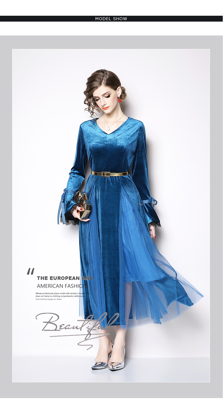 BunniesFairy 2019 Spring Women Gothic Style Blue Velvet Mesh Patchwork  V-Neck Midi Dress Large Pendulum Long Flare Sleeve Belted a46a911b9
