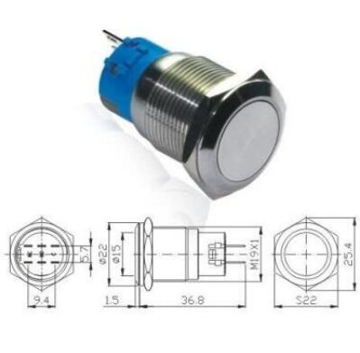 3 Pin 5a 250v 19mm Round Latching Push Button Switch In Switches