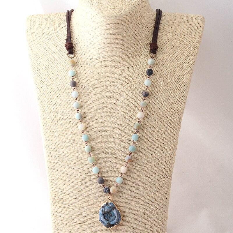 Mode Bohemian Tribal Schmuck Perlen Halsband Braun Leder Amazonit Steine Natürliche Schalen Druzy Halskette