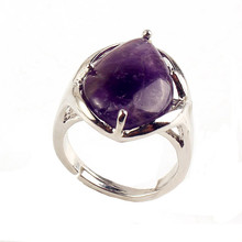 UMY New Stylish Silver Plated Amethyst Stone Water Drop Resizable Finger Ring Fashion Jewelry