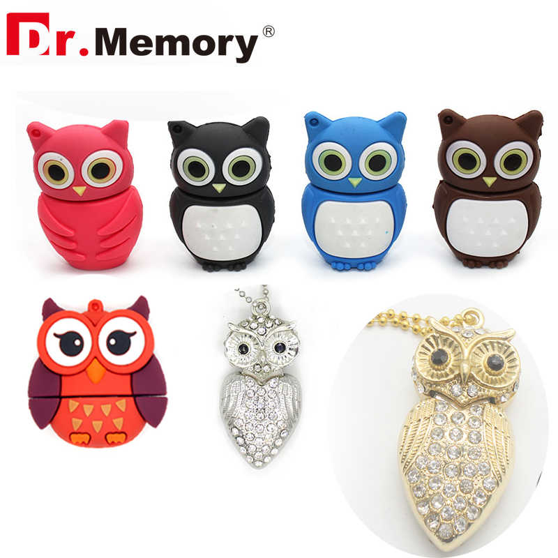 Cool USB Flash Drives Crystal Owl Cartoon Pendrives Personalized 32GB Silicon Animal Pen Drive 4GB 8GB 16GB Memory Stick Gifts