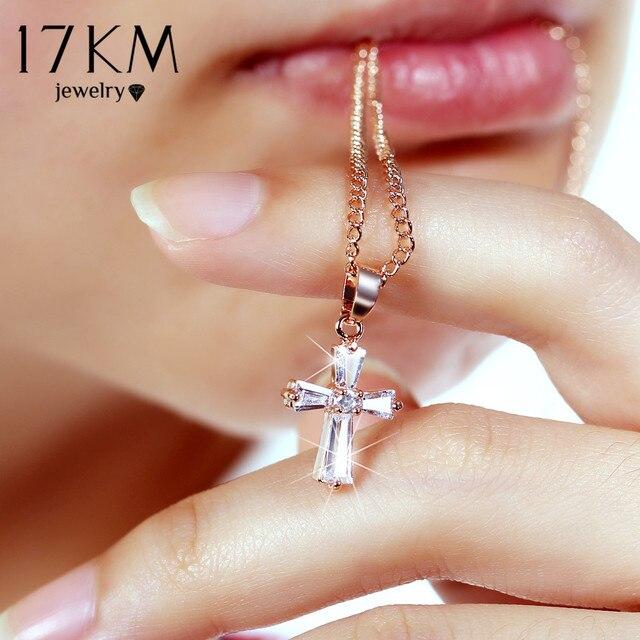 17KM Rose Gold Color Cross Pendant Necklaces For Woman Crystal Pendant Cubic Zir