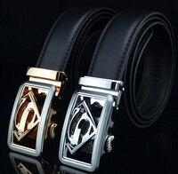 Men High Quality Luxe Marque Designer Jeans Belt Leather Superman Automatic Buckle Ceinture Homme Cinturones Hombre