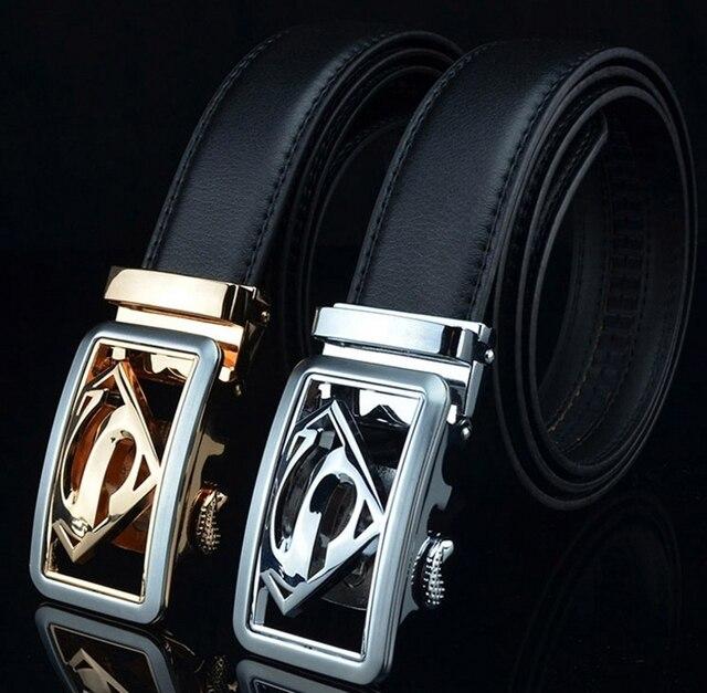 ca60807eb211 Hommes Haute Qualité Luxe Marque Designer Jeans Ceinture En Cuir Superman  Automatique Boucle Ceinture Homme Cinturones