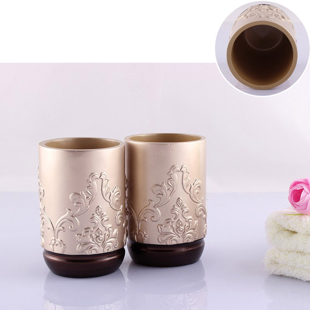 Luxury 5PCS Bathroom Accessory Set Brown/White/Champagne Soap Dish  Dispenser Tumbler Toothbrush Holder Bath Set Free Shipping In Bathroom  Accessories Sets ...