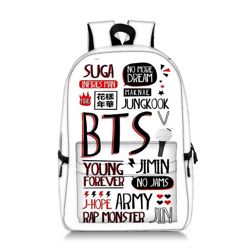 BTS Backpack School Bags For Teenage Girls Travel Shoulder Bags Rucksack Laptop