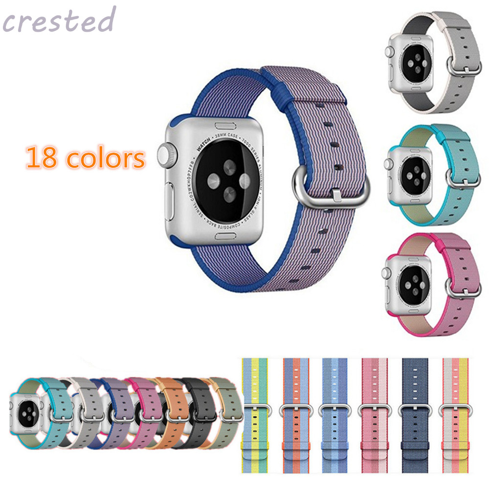CRESTED Sport nylon strap watch band for apple watch 42mm 38mm wrist bracelet Woven Nylon watchband for iwatch 2/1/Edition sport silicone band strap for apple watch nike bracelet wrist band watch watchband for apple watches series1 series2 42mm 38mm