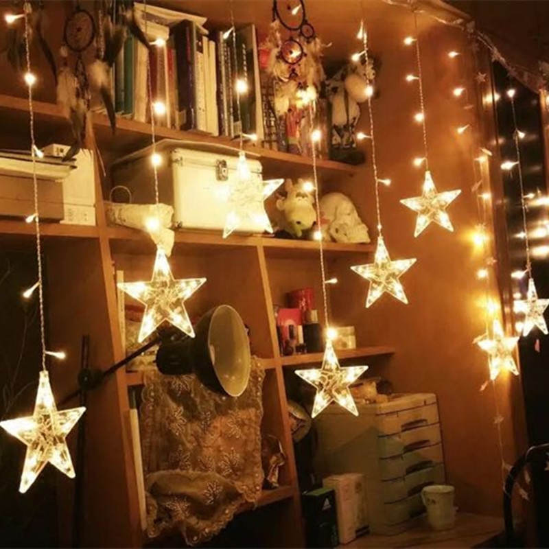 Hot Sale 12stars 200cm String Light Christmas/Wedding/Party Decoration Lights AC 110V 220V holiday decorative fairy led lighting high quantiy 28 ball led 5m string light for christmas xmas holiday wedding party decoration fashion holiday light 8 mode work