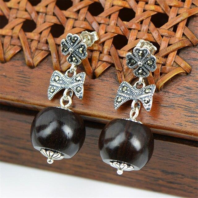 Pusety Vintage Marcasite Earrings 925 Sterling Silver Natural Ebony Wood Stud Marcita C