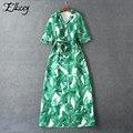 Новый 2017 Весна Макси Dress Банан Зеленый Лист Печать Three Четверти Рукав Длинный Платья Зубчатый Женщин Печатных Dress Плюс Размер
