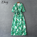 New 2017 Spring Maxi Dress Banana Green Leaf Printing Three Quarter Sleeve Long Dresses Notched Women Printed Dress Plus Size